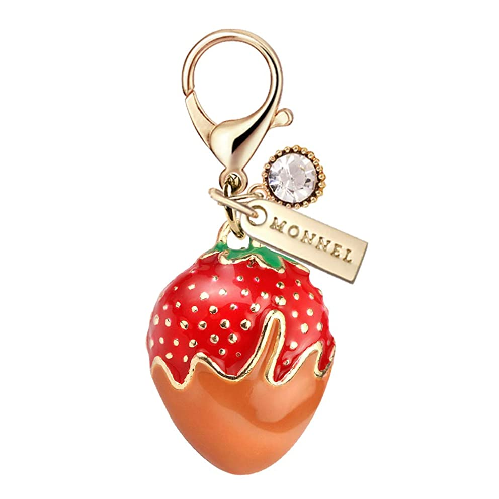 MC110 New Arrival Cute 3D Strawberry Lobster Clasp Charm Pendant with Pouch Bag (1 Piece)