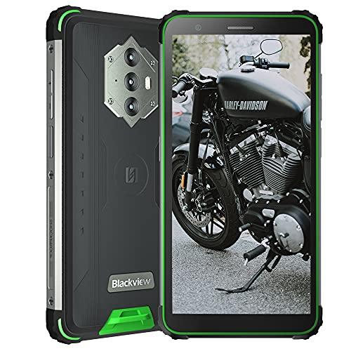 Blackview BV6600, Teléfono Móvil IP68 Resistente Android 10 4G de 5,7', 4 GB de RAM, 64 GB de ROM, Expansión de 128 GB, 16 MP + 8 MP, Batería de 8580 mAh, Dual SIM NFC GPS Giroscopio FM Verde