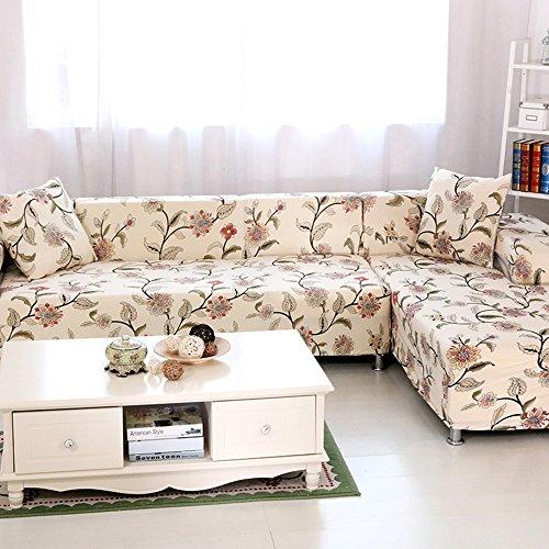 HYSENM 1/2/3/4 Sitzer Sofabezug Sofaüberwurf Stretch weich elastisch farbecht Blumen-Muster, Beige 3 Sitzer 190-230cm