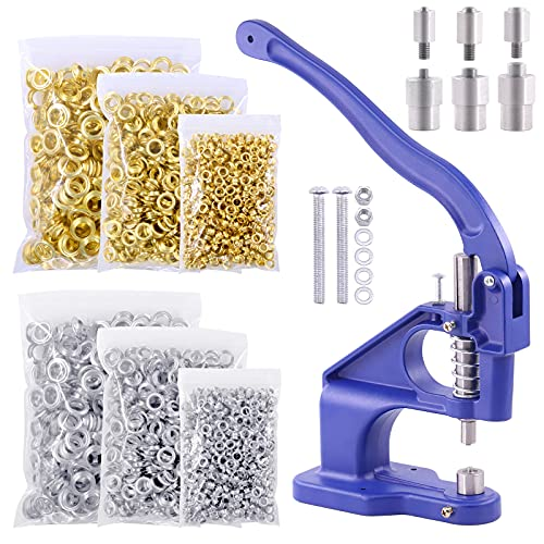 Wokape 3004Pcs Blue Hand Press Grommet Machine Grommets Eyelet Tool Kit, with 3 Die (#0#2#4) Handle Cover 3000 PCS Grommets, Installation Tools for Grommets Eyelet Hole Tool