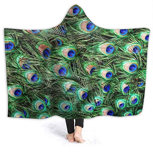 ARRISUM Peacock Feather Print Hooded Blanket Super Soft Flannel for Bed Sofa Lightweight Blanket Throw Size for Kids Adults All Season 80X60 Inches