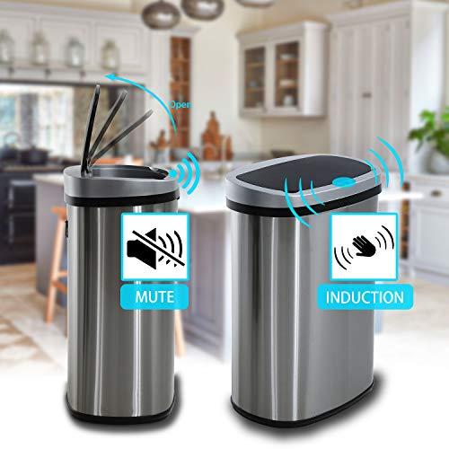 HCB Touchless Trash Can Automatic Waste Bin Mute Metal Garbage Can with Lid Stainless Steel 13 Gallon 50 Liter for Kitchen | Office | Bedroom | Bathroom | Living Room
