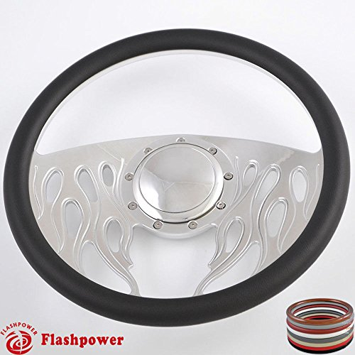 14' Billet Steering Wheels Black Half Wrap Impala Chevy II Nova Chevelle w/Horn