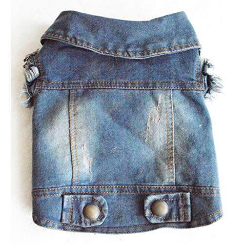 Whiie891203 Hundekleidung für Hunde, Cowboy, Jeansweste, Jacke, Kleidung, Outfit, Haustierbedarf, Kostüm, Größe S
