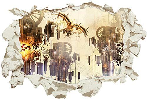 Unified Distribution Abstrakte Kunst Steampunk - Wandtattoo mit 3D Effekt, Aufkleber für Wände und Türen Größe: 92x61 cm, Stil: Durchbruch