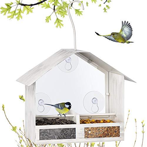 BOLITE 18020 Vogelfutterhaus 2-Wege Futterspender Fenster Vogelfutterhaus mit starken Saugnäpfen zum Aufhängen Vogelhaus für Draußen Retro Weiß 0,5kg
