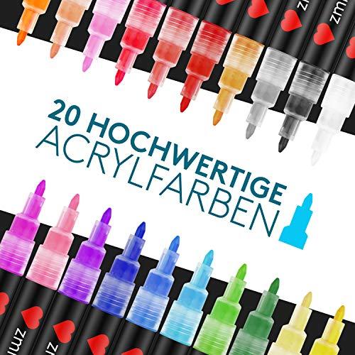 ZMILLA® Acrylstifte (20 Farben) - Extra Dünne 0,7mm Spitze - Inklusive EBook - Wasserfeste Multimarker Zum Steine Bemalen