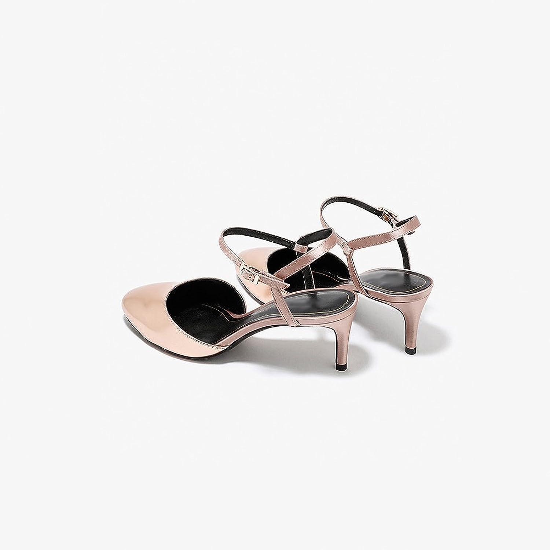 XUERUI Elegant and Comfortable Word Buckle Sexy Round Head Kitten Heel shoes (color   Brown, Size   EU38 UK5.5 CN38)