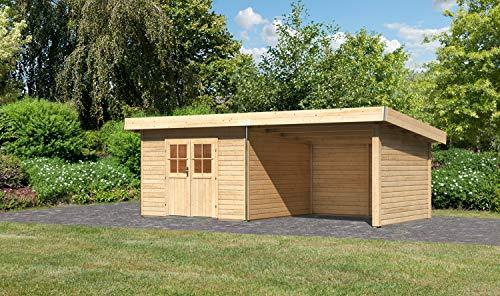 Unbekannt Karibu Gartenhaus MOOSBURG 3 Natur + Anbaudach + Seiten & Rückwand Holzhaus 40mm