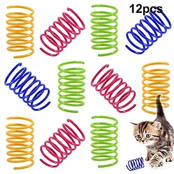 NATUCE 12 Pièces Coloré Printemps Jouet de Chat, Interactif Chat Jouets, Jouet de Ressorts en Spirale en Plastique Interactifs Durables, Cadeau de Nouveauté Chat Jouet pour Chaton Kitty