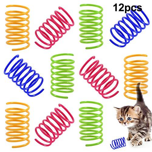 NATUCE 12PCS Juguete para Gato, Juguete Colorido del Gato Primavera Muelles en Espiral de Plástico para Gato Gatito Mascotas Novedad Regalo, Juguetes para Mascotas, Interactiva Mascota