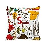 Hannah66Wind - Funda de cojín Cuadrada con diseño de Bandera Nacional de España, 45,7 x 45,7 cm