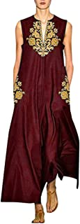 Women's Casual Dresses Retro Solid Straight Loose Shift Long Dress Split Neck Summer Sleeveless Maxi Dress with Pockets