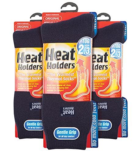 HEAT HOLDERS - 3er Pack Multipack Herren Winter Extra Warm Thermosocken (39-45, Marine)