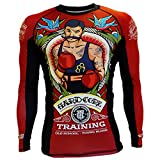 Hardcore Training Old Tattoo 2.0 Men's Rash Guard Compression Long Sleeve MMA No-Gi Tight BJJ Grappling Base Layer Fitness