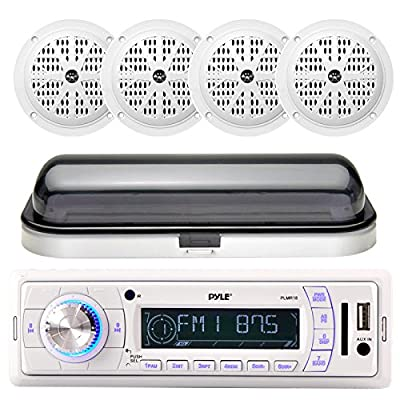 Pyle PLMR18 200-Watt Marine AM FM SD USB Aux Remote Radio Receiver, and 4 x Pyle PLMR61W 120 Watts 6.5'' Dual Cone Speakers (White), Radio Shield, Enrock Antenna, Optional 4-Channel Amplifier