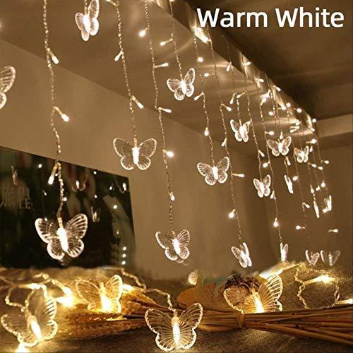 No brand 220 V LED Kerstmis vlinder slinger lichtketting gordijn lichten Outdoor Party nieuwe jaren decoratie 4 Mt x 0,65 Mt EU-stekker warmwit