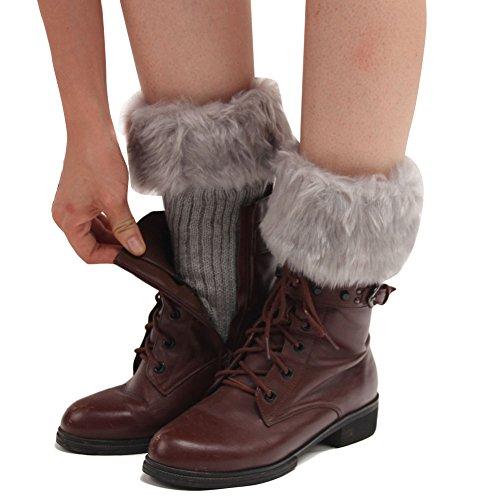 ZUMUii Butterme Faux Fur Leg Accessori Calze Stivali Invernali Donne Scaldamuscoli Knit Stivali Calze Topper Cuff (Grigio Chiaro)