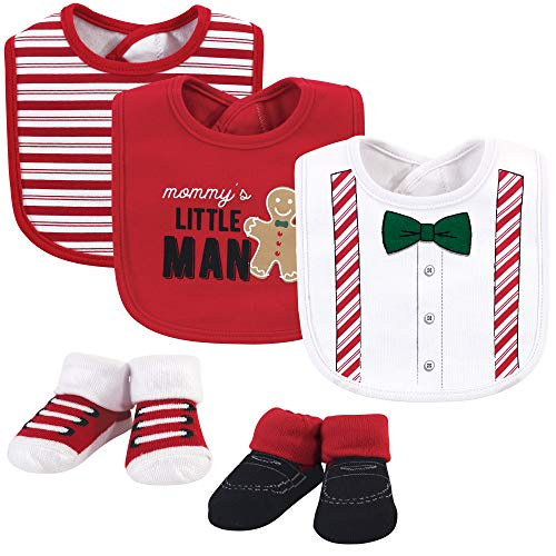 Little Treasure Unisex Baby Cotton Bib and Sock Set, Christmas Suspenders, One Size