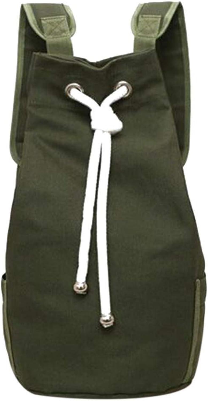 Rucksack lssig Mnner Canvas Rucksack groe Kapazitt Eimer Rucksack Armee grün Seil Kordelzug Rucksack Mnner Rucksack Rucksack schwarz Reisetasche (Farbe   Grün)