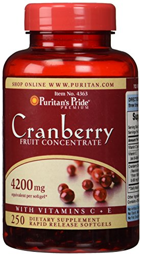 Puritan's Pride Cranberry Fruit Concentrate with Vitamin C & E 250 Softgels
