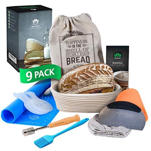 HOMEADOW Banneton Bread Proofing Basket - A Great Gift- 9 Pcs Kit: 10 inch Oval Brotform, Linen Liner, Bread Lame, Bench Scraper, Dough Scraper, Stencils, Silicone Baking Mat, Bread Bag, Brush   Sourdough