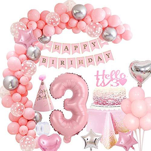 MMTX Decoracion Festa Rosado de Cumpleaños Niña 3 Año, 40' Foil Helio Globo Número 3, Pancarta de Feliz Cumpleaños, Adornos Globos de Latex para Niña Cumpleaños Baby Shower Decoración