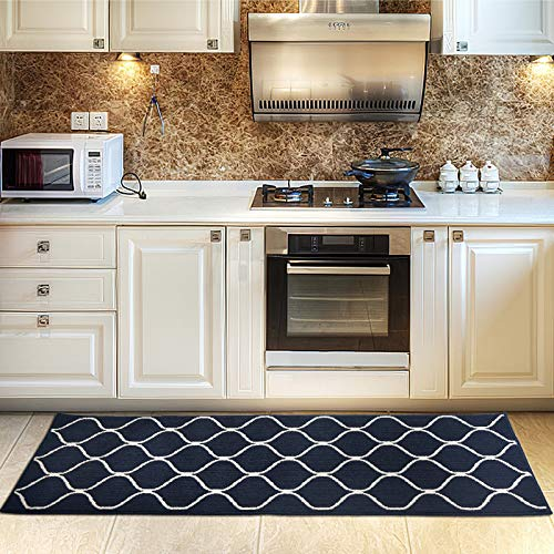 COSY HOMEER Kitchen Rug Non Slip Backing for Kitchen Floor Runner Rug with Water Absorbent Specialized in Machine Washable (Navy blau, 60 * 180cm)