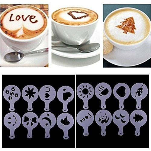 Set di 16cappuccino barista stencil stampo da schiuma di latte spray Spargono fiori Pad Duster spray Tool for Christmas Cafe Home latte caffè torta fai da te Decorazione di arte