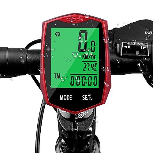 Aodoor Computer di bicicletta, Wireless Ciclocomputer Impermeabile con Display Retroilluminato Retroilluminato Sensore di Movimento All'aperto in Bicicletta in Tempo Reale Velocità su Pista