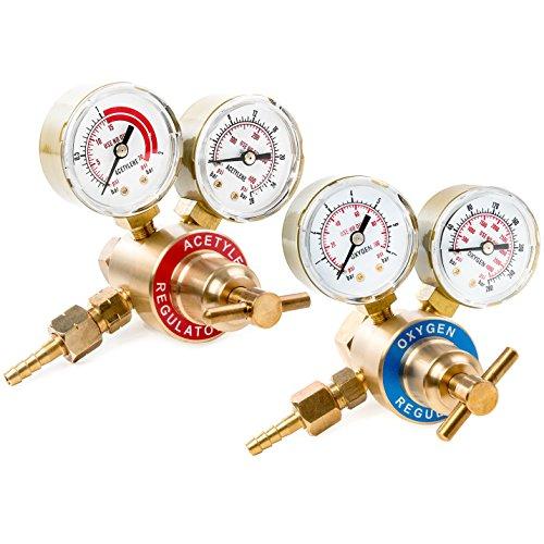 Biltek Dual Gauge Oxygen & Acetylene Solid Brass Regulator for Welding Victor Gas Torch Cutting - CGA540 and CGA200 Rear Mount Fitting