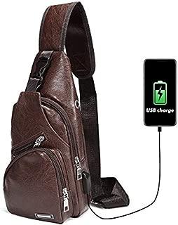 Men's Shoulder Bag,Popoti Daypack Leather Backpack Handbag Sports Bags Crossbody Bag Large Sling Chest Bag Messenger Bags with USB Port for Outdoor Hiking Travel (S,Brown)