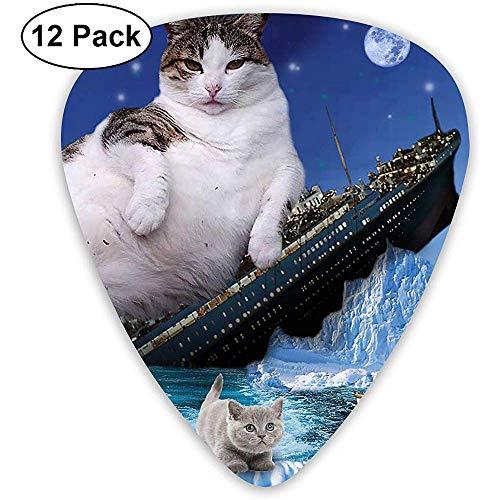 Titanic Cat Sinking Kitty Fat Cats Gitarren-Plektren, E-Gitarren und Akustikgitarren im 12er-Pack