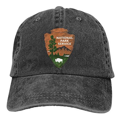 KIXYOUHUU Denim Cap US National Park Logo Baseball Dad Cap Classic Adjustable Sports for Men Women Hat, Black, One Size
