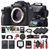 Sony Alpha a9 Mirrorless Digital Camera (Body Only) (ILCE9/B) + 64GB Memory Card + 2 x NP-FZ-100 Battery + Corel Photo Software + Case + External Charger + Card Reader + LED Light + More (Renewed)