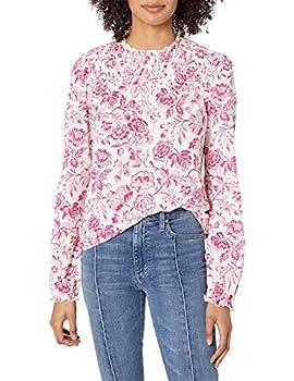 Lucky Brand Women s Long Sleeve Floral Smocked Yoke Peasant Top Pink Multi Medium