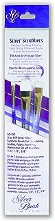 Silver Brush SS-155 Sterling Studio Silver Scrubber Stiff White Taklon Short Handle Brush Set, Oval Filbert, 3 Per Pack