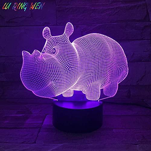 Luz De Ilusión 3D Luz De Noche Led Hipopótamo Con Sensor Regalo De Bebé Decoración De Dormitorio Que Cambia De Color Lámpara De Escritorio De HipopótamoRegalo DeCumpleañosPara Niños