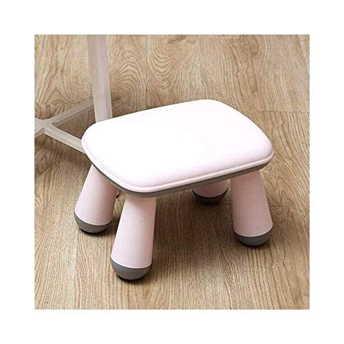 A/N Foot Rest Stool Pouffe Stool - Plastic Footstool Shoe Bench Household Children Adult Assembly Stool-Pink