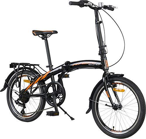 KRON FOLD 3.0 Klapprad 20 Zoll   Faltrad Shimano 7 Gang-Schaltung 14 Zoll Rahmen   Faltbares Fahrrad mit V-Bremse   Schwarz Orange