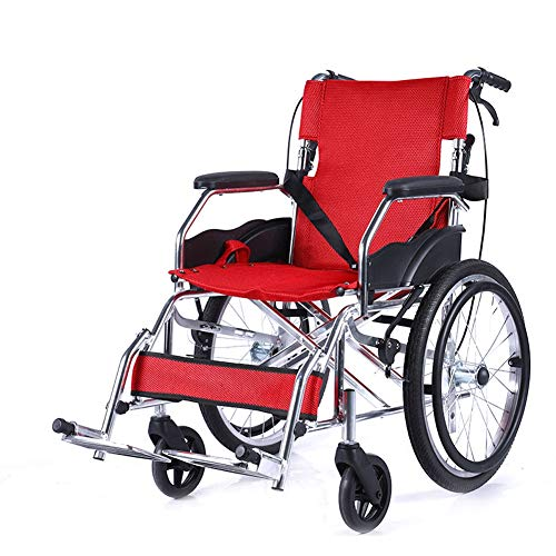 D-Q Autopropulsada plegable de cuero silla de ruedas apoyabrazos, for mayores, discapacitados, personas de movilidad reducida con silla de ruedas usuarios con el frente y trasero Freno de mano de tela