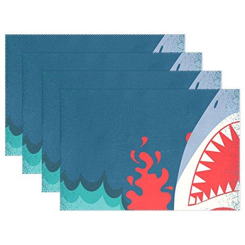 COOSUN Mâchoires de Requin Affiche Fond napperons, Résistant à la Chaleur napperons Taches Anti-Dérapant Résistant Lavable Tableau Polyester Tapis Antiderapant Easy Clean napperons, 12 « x18 », Ense
