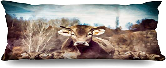 Ahawoso Zippered Body Pillow Cover 20x60 Inches Oil Painting Big Herd Tagged Cows Against Animals Wildlife No Digital People Agricultural Agriculture Decorative Cushion Case Home Decor Pillowcase