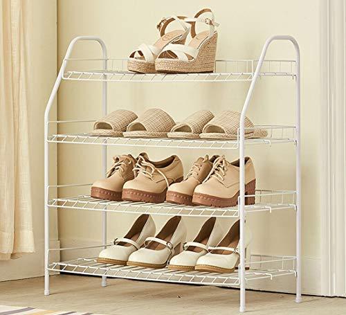 ZLININ Estante del zapato de 4 capas con acero al carbono, fácil de montar Espacio Guarda estilo minimalista blanca, 65 X 28 X 70 Cm