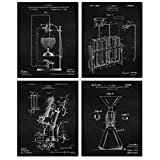 Vintage Science Lab Chemistry Patent Poster Prints, Set of 4 (8x10) Unframed Photos, Wall Art Decor Gifts Under 20 for Home, Office, Garage, Man Cave, School, Student, Teacher, Engineer, R&D Fan