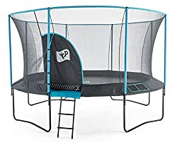 14ft TP Genius Round Blue Trampoline Stylish blue enclosure foams and pads Zip free IGLOO door entry 10 year frame warranty