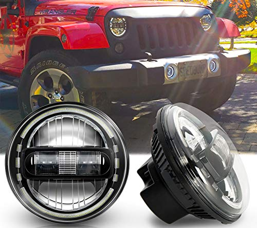 Newest DOT Approved Galvor 7 Inch LED Headlights Replacement for Jeep JK, DRL High Beam and Low Beam for Jeep Wrangler JK LJ CJ TJ 1997-2018 Headlamps Hummer H1 H2 Headlights Round Black -  GuangZhou GeXune Technology Co., Ltd., GX-7''7060K-black-2