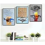 Carteles 3 Unids/set Paisaje nórdico Tiburón de dibujos animados Imagen modular Arte de la pared Pinturas en lienzo Decoración para habitación de niños-50x70 cm x3 Sin marco