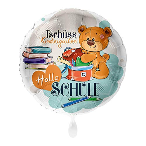 paduTec Folienballon - Tschüss Kindergarten Hallo Schule - geeignet zur Befüllung mit Helium Gas oder Luft - Europäische Premiumqualität - Einschulung , Ballon, Luftballon