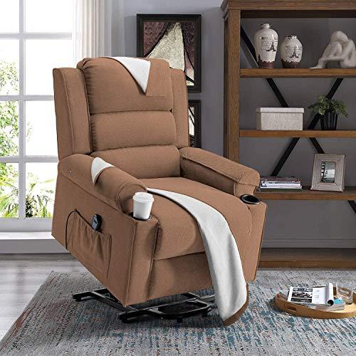 FMXYMC Silla reclinable Power Lift, sofá Individual de ángulo Ajustable para Personas Mayores, Tela de Lino con Bolsillo Lateral, 2 portavasos, Fundas Lavables,Marrón
